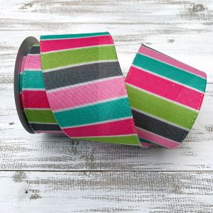 Pink/Mint/Teal Horizontal Stripe Ribbon