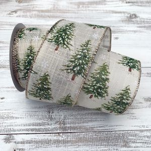 Snowy Pine Tree Ribbon