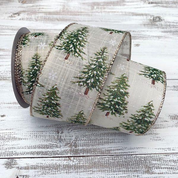 Snowy Pine Tree Ribbon