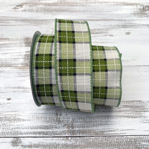 Green/Cream Plaid Ribbon
