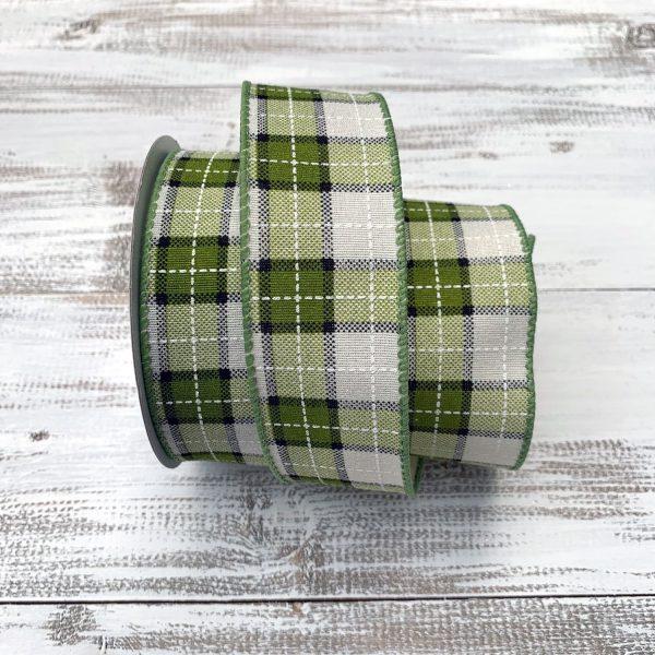 Green/Cream Plaid Ribbon