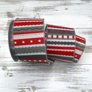 Red/Gray Whimsical Horizontal Stripe Ribbon