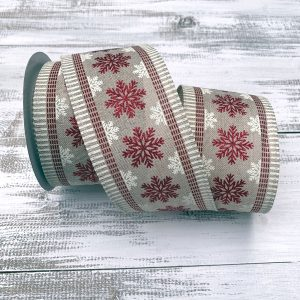 Natural/Cream/Red Glitter Snowflake Ribbon