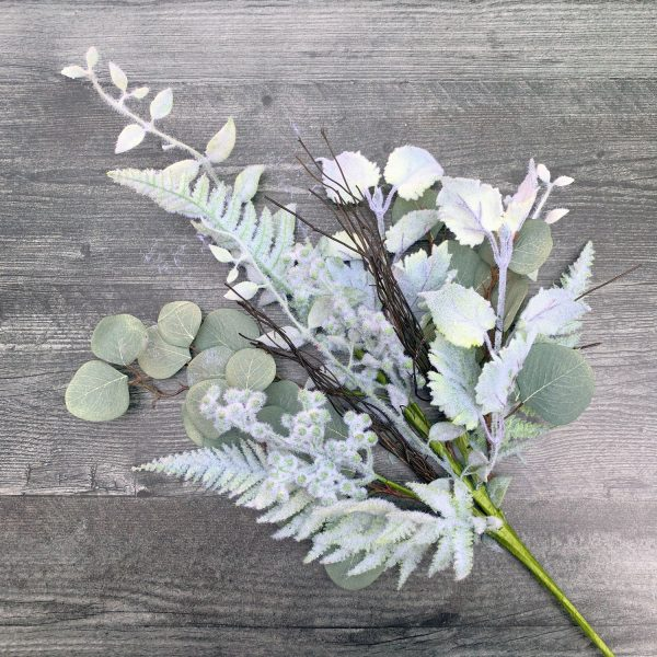 Flocked Mixed Leaves Spray - 30""
