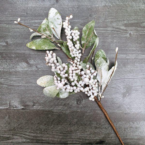 Glittered White Snowberry Pick
