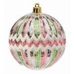 """Pink/Mint Zig Zag Ornament Ball - 4"""""""