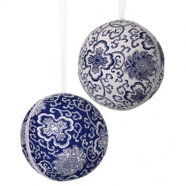 Blue & White Fabric Ornament Ball