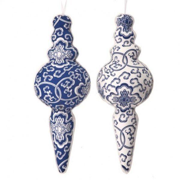 Blue & White Fabric Ornament Finial
