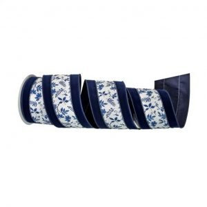 "Blue Velvet Floral Vine Ribbon - 4"" x 10 yards"