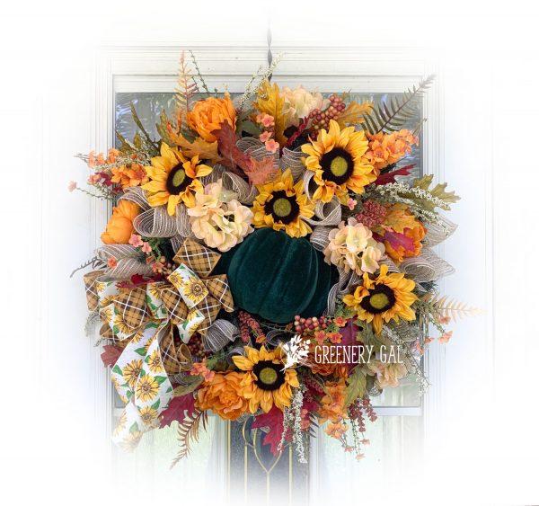 Sunflower & Pumpkin Fall Wreath