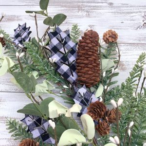 Buffalo Plaid Holly Greenery Spray - 32""