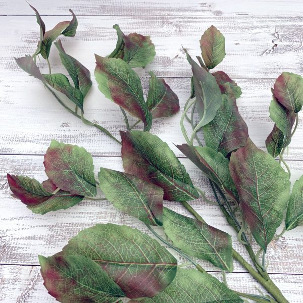 Green/Brown Rose Leaf Spray