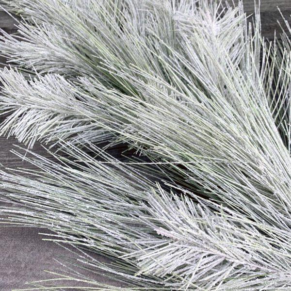 Flocked Long Needle Pine Teardrop Swag