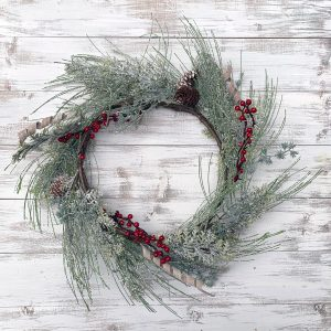 Glittered Spiral Pine Wreath
