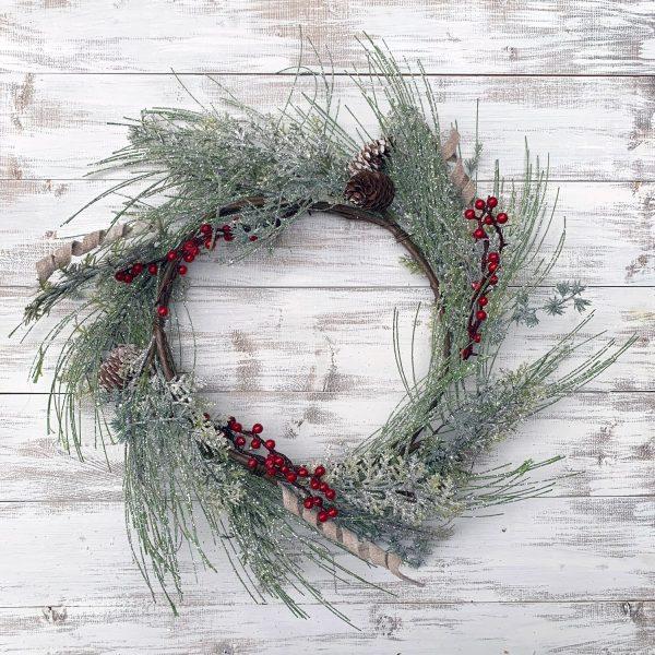 Glittered Spiral Pine Wreath