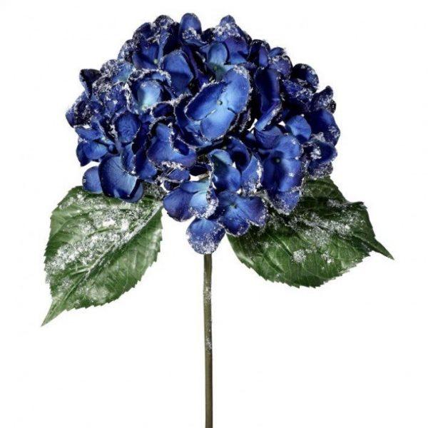"Glittered Royal Blue Hydrangea Stem - 22"""