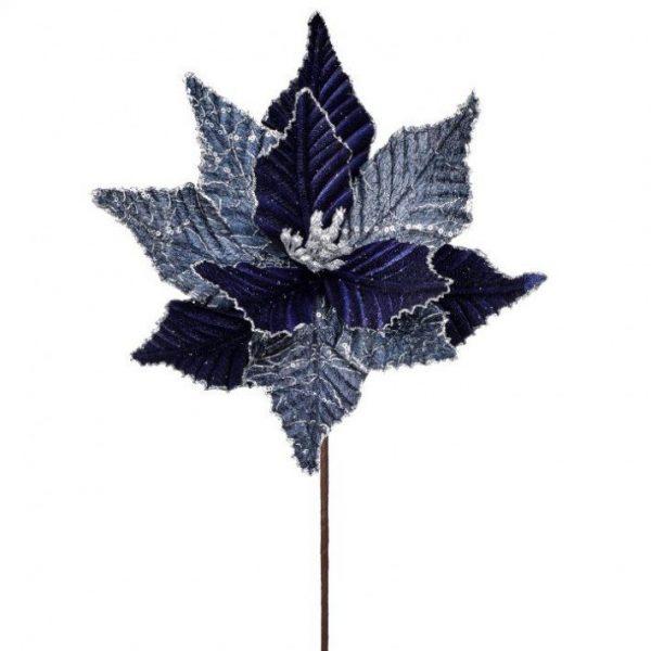 "Navy Blue/Silver Poinsettia Stem - 24"""