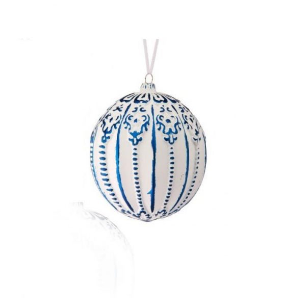 """Blue & White Carved Ball Ornament - 4"""""""