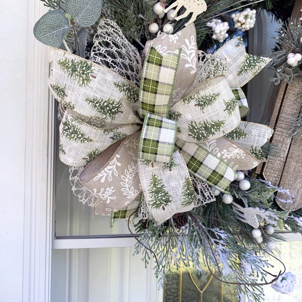Snowy Tree and Plaid Bow