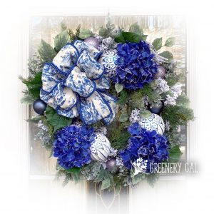 Blue Hydrangea and Toile Wreath