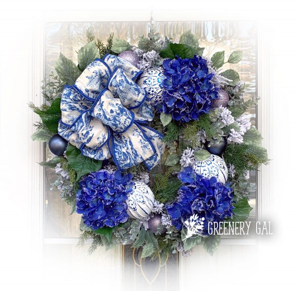Blue Hydrangea and Toile Wreath