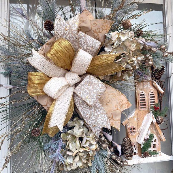 Champagne & Pine Church Wreath