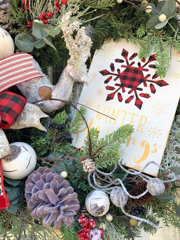 Birch Deer & Plaid Wreath